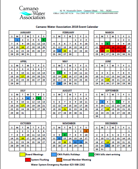 Camano Water Association 2018 year-at-a-glance calendar